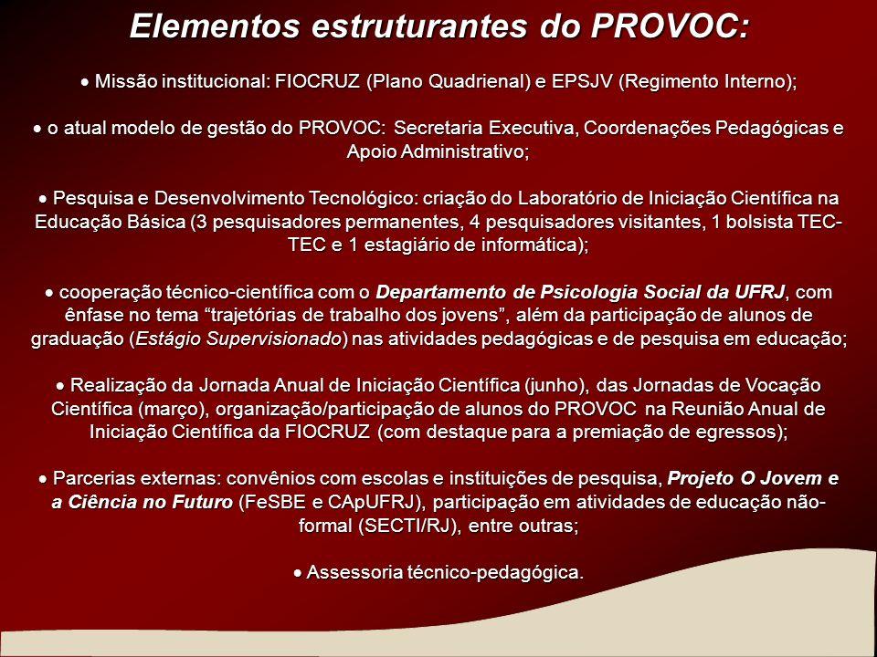 Elementos estruturantes do PROVOC: Missão institucional: FIOCRUZ (Plano Quadrienal) e EPSJV (Regimento Interno); Missão institucional: FIOCRUZ (Plano