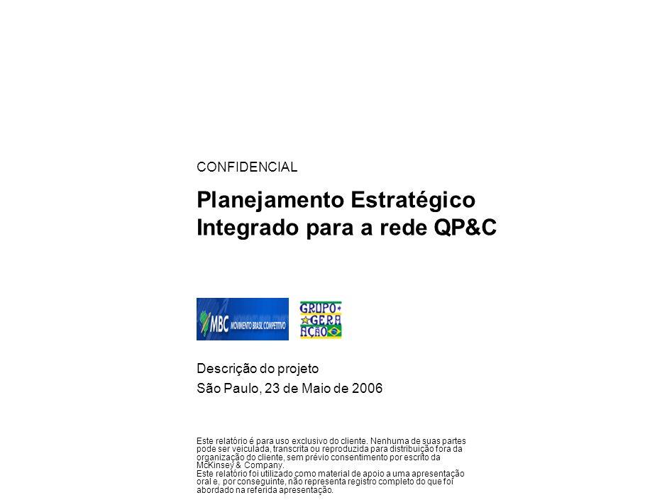 Planejamento Estratégico Integrado para a rede QP&C Descrição do projeto São Paulo, 23 de Maio de 2006 CONFIDENCIAL Este relatório é para uso exclusiv