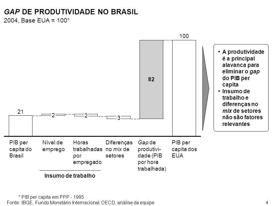 4 GAP DE PRODUTIVIDADE NO BRASIL 2004, Base EUA = 100* 21 2 2 3 100 PIB per capita do Brasil Nível de emprego Horas trabalhadas por empregado Diferenç