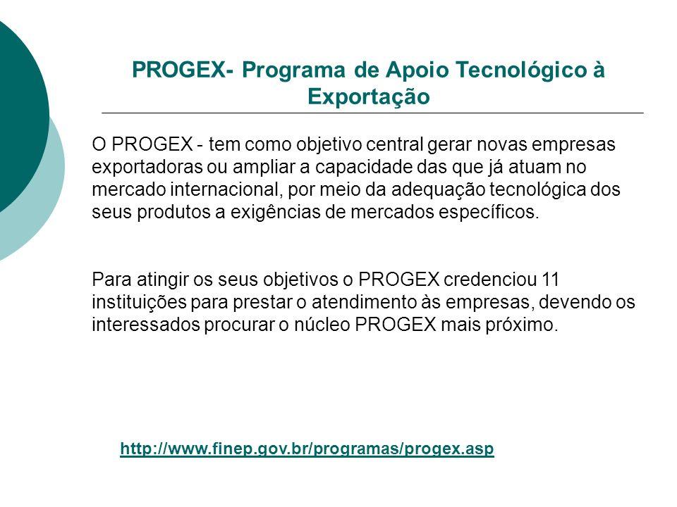 PROGEX- Programa de Apoio Tecnológico à Exportação O PROGEX - tem como objetivo central gerar novas empresas exportadoras ou ampliar a capacidade das que já atuam no mercado internacional, por meio da adequação tecnológica dos seus produtos a exigências de mercados específicos.