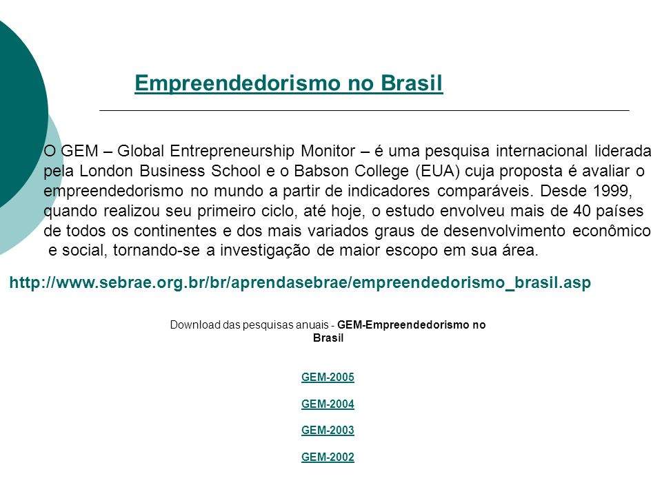 O GEM – Global Entrepreneurship Monitor – é uma pesquisa internacional liderada pela London Business School e o Babson College (EUA) cuja proposta é avaliar o empreendedorismo no mundo a partir de indicadores comparáveis.