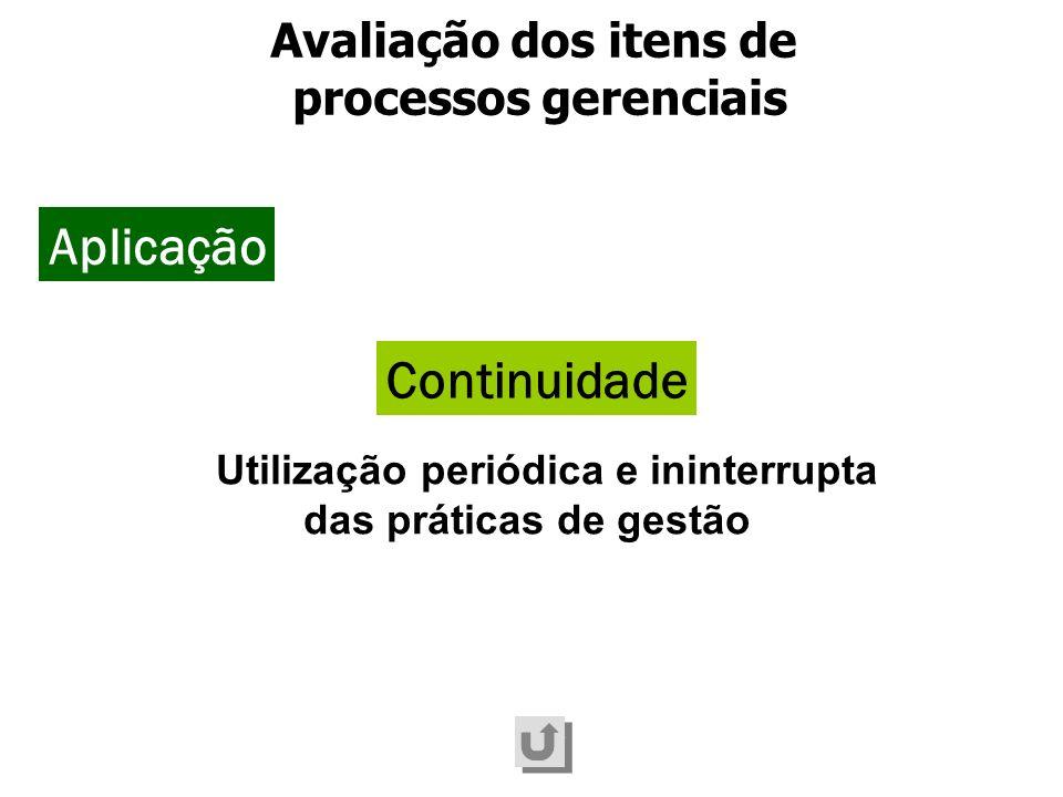 Utilização periódica e ininterrupta das práticas de gestão Continuidade Avaliação dos itens de processos gerenciais Aplicação