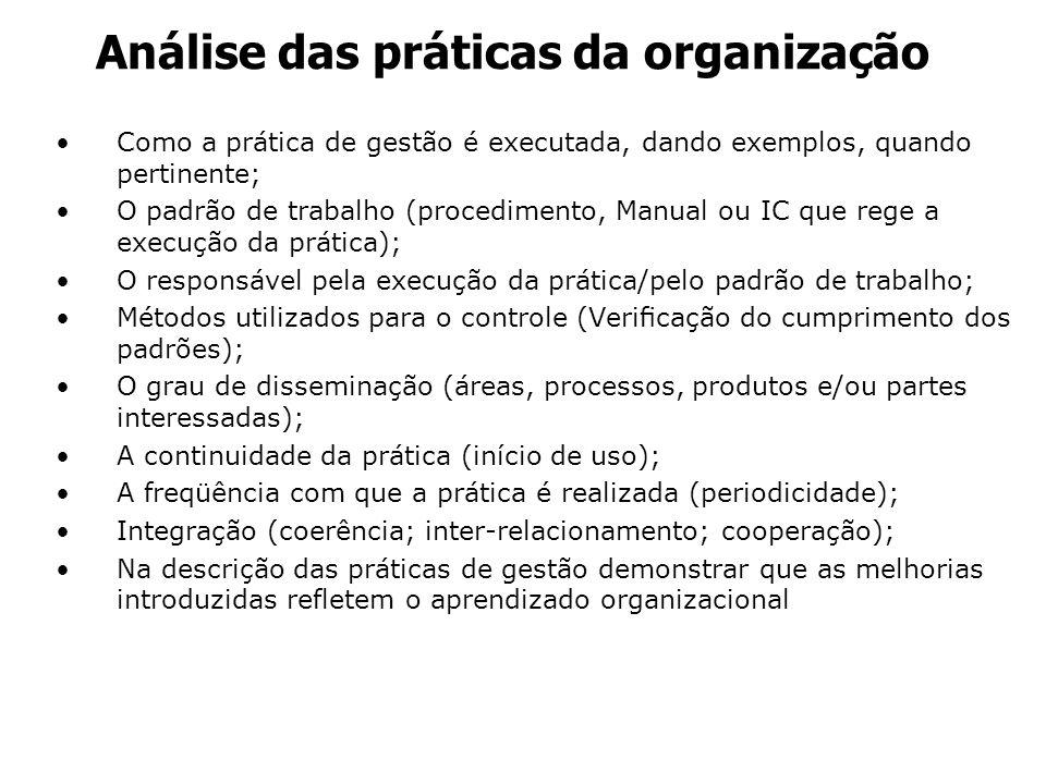 Análise das práticas da organização Como a prática de gestão é executada, dando exemplos, quando pertinente; O padrão de trabalho (procedimento, Manua