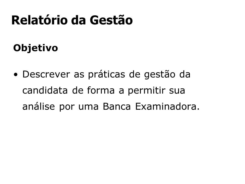 Relatório da Gestão Objetivo Descrever as práticas de gestão da candidata de forma a permitir sua análise por uma Banca Examinadora.