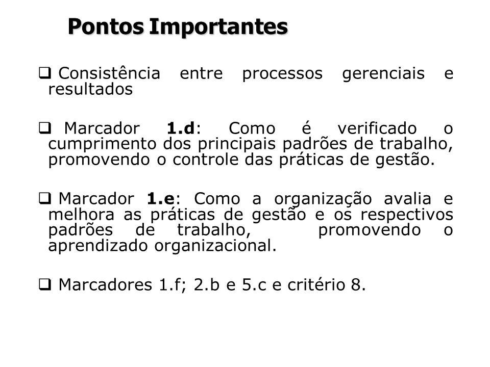 Pontos Importantes Consistência entre processos gerenciais e resultados Marcador 1.d: Como é verificado o cumprimento dos principais padrões de trabal