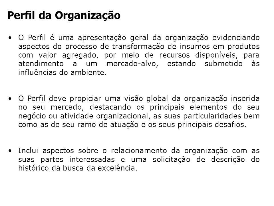 Perfil da Organização O Perfil é uma apresentação geral da organização evidenciando aspectos do processo de transformação de insumos em produtos com v