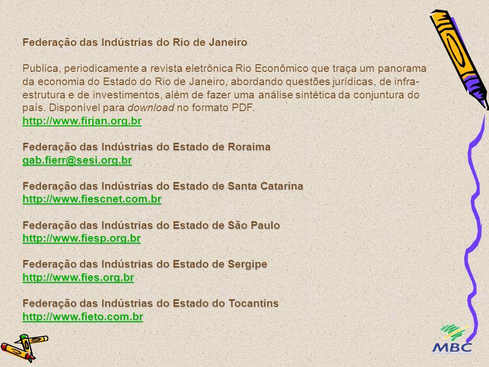 Federação das Indústrias do Estado de Roraima gab.fierr@sesi.org.br Federação das Indústrias do Estado de Santa Catarina http://www.fiescnet.com.br Fe