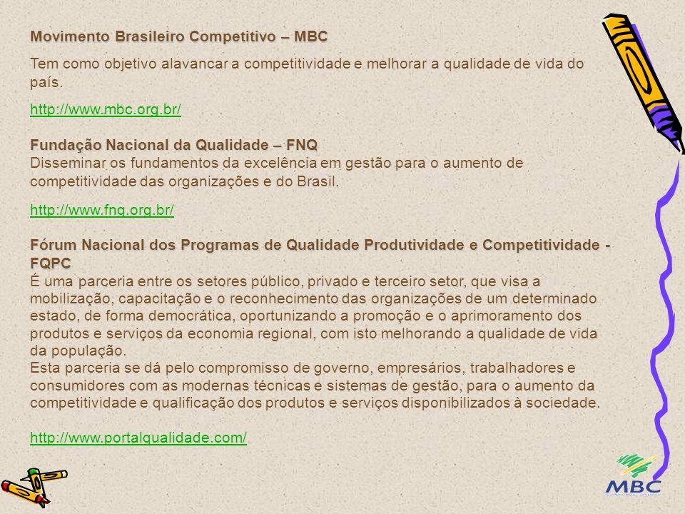 Movimento Brasileiro Competitivo – MBC Tem como objetivo alavancar a competitividade e melhorar a qualidade de vida do país. http://www.mbc.org.br/ Fu