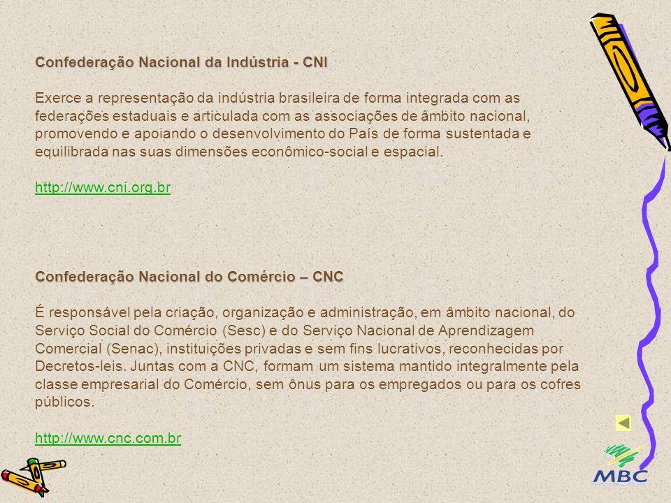 Confederação Nacional da Indústria - CNI Exerce a representação da indústria brasileira de forma integrada com as federações estaduais e articulada co