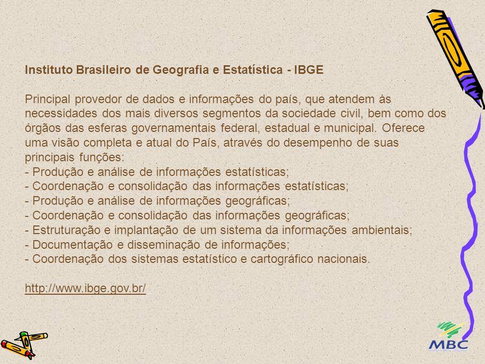 Instituto Brasileiro de Geografia e Estatística - IBGE Principal provedor de dados e informações do país, que atendem às necessidades dos mais diverso