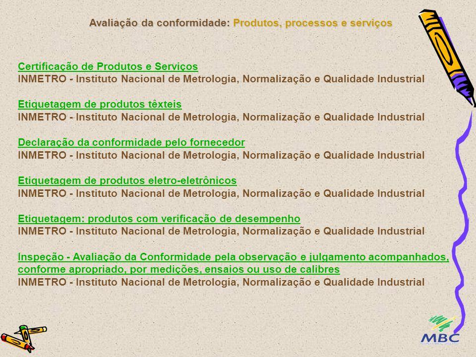 Avaliação da conformidade: Produtos, processos e serviços Certificação de Produtos e Serviços Certificação de Produtos e Serviços INMETRO - Instituto