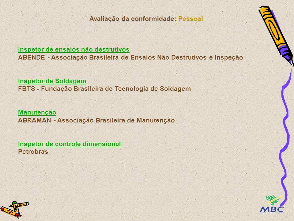 Avaliação da conformidade: Pessoal Inspetor de ensaios não destrutivos Inspetor de ensaios não destrutivos ABENDE - Associação Brasileira de Ensaios N