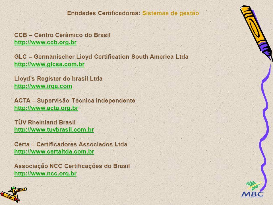 Entidades Certificadoras: Sistemas de gestão CCB – Centro Cerâmico do Brasil http://www.ccb.org.br GLC – Germanischer Lioyd Certification South Americ