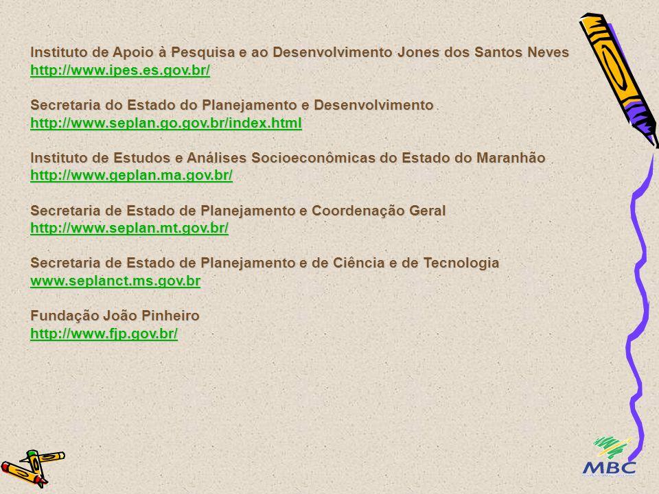 Instituto de Apoio à Pesquisa e ao Desenvolvimento Jones dos Santos Neves http://www.ipes.es.gov.br/ Secretaria do Estado do Planejamento e Desenvolvi