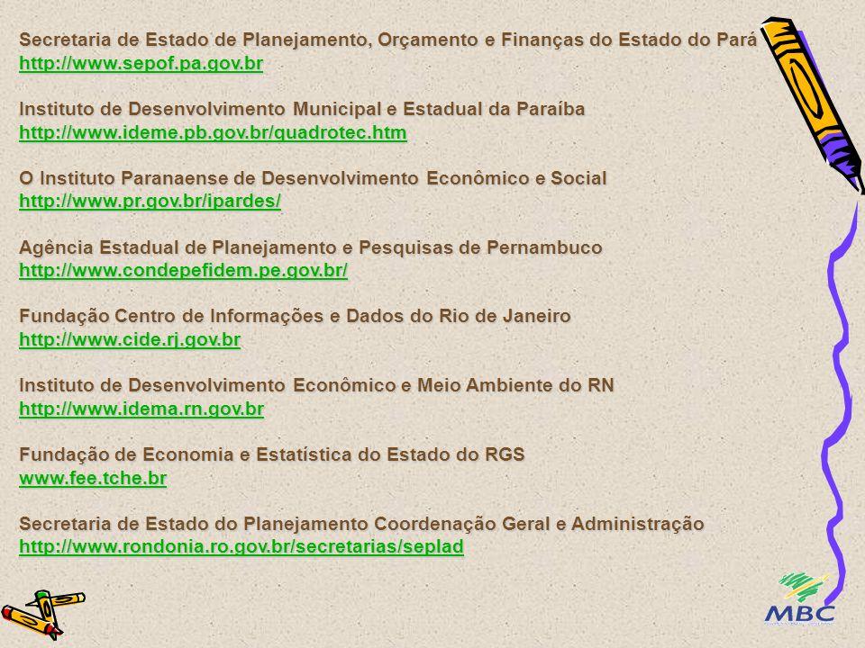 Secretaria de Planejamento e Orçamento de Roraima http://www.seplan.rr.gov.br/ O Instituto de Planejamento e Economia Agrícola de Santa Catarina http://www.icepa.com.br/ Fundação Sistema Estadual de Análise de Dados http://www.seade.gov.br Secretaria de Estado do Planejamento e da Ciência e Tecnologia http://www.seplantec.se.gov.br/ Secretaria do Planejamento e Meio Ambiente http://www.seplan.to.gov.br http://www.seplan.rr.gov.br/ http://www.icepa.com.br/ http://www.seade.gov.br http://www.seplantec.se.gov.br/ http://www.seplan.to.gov.br http://www.seplan.rr.gov.br/ http://www.icepa.com.br/ http://www.seade.gov.br http://www.seplantec.se.gov.br/ http://www.seplan.to.gov.br