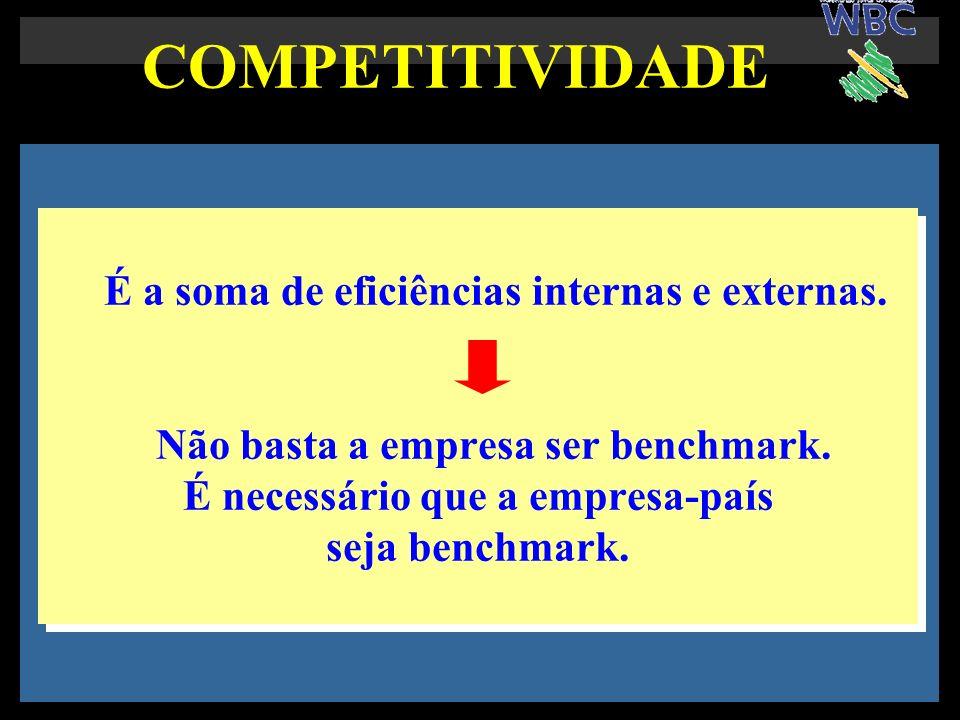 COMPETITIVIDADE É a soma de eficiências internas e externas. Não basta a empresa ser benchmark. É necessário que a empresa-país seja benchmark. É a so