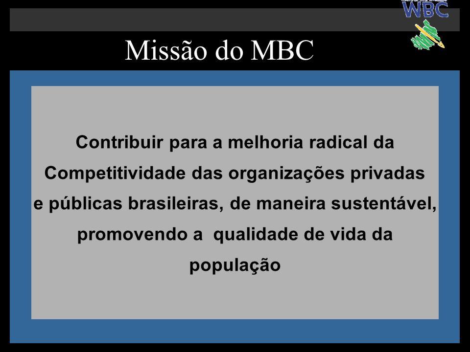 Missão do MBC Contribuir para a melhoria radical da Competitividade das organizações privadas e públicas brasileiras, de maneira sustentável, promoven