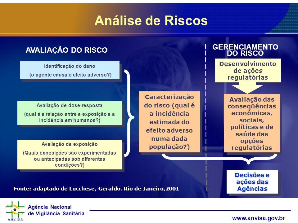 Agência Nacional de Vigilância Sanitária www.anvisa.gov.br AVALIAÇÃO DO RISCO GERENCIAMENTO DO RISCO Identificação do dano (o agente causa o efeito ad