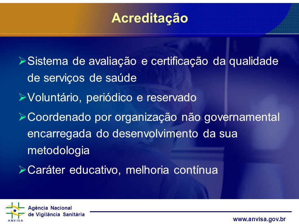 Agência Nacional de Vigilância Sanitária www.anvisa.gov.br Acreditação Sistema de avaliação e certificação da qualidade de serviços de saúde Voluntári