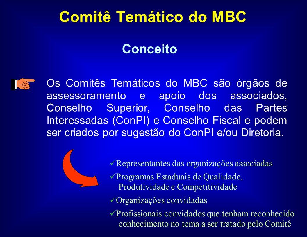 Comitê Temático do MBC O objetivo geral dos Comitês Temáticos é apresentar estudos, sugestões e embasamento técnico sobre assuntos específicos ligados à competitividade e às estratégias do MBC que serão encaminhados pela Diretoria para decisão do Conselho Superior.