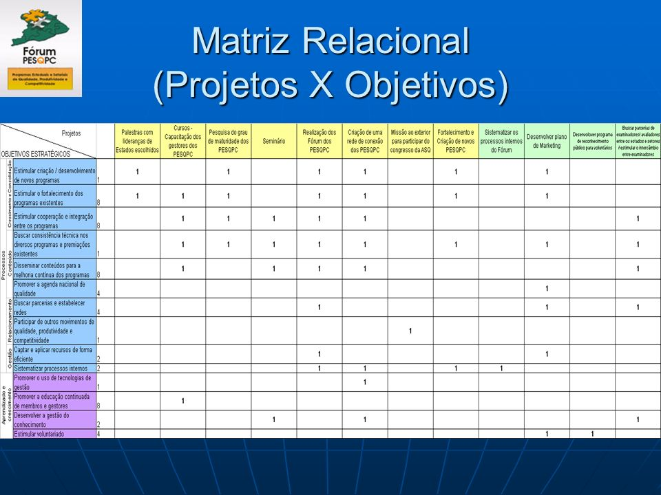 Matriz Relacional (Projetos X Objetivos)