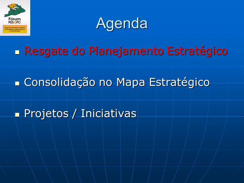 Agenda Resgate do Planejamento Estratégico Resgate do Planejamento Estratégico Consolidação no Mapa Estratégico Consolidação no Mapa Estratégico Proje
