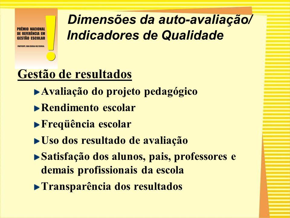 Dimensões da auto-avaliação/ Indicadores de Qualidade Gestão de resultados Avaliação do projeto pedagógico Rendimento escolar Freqüência escolar Uso d