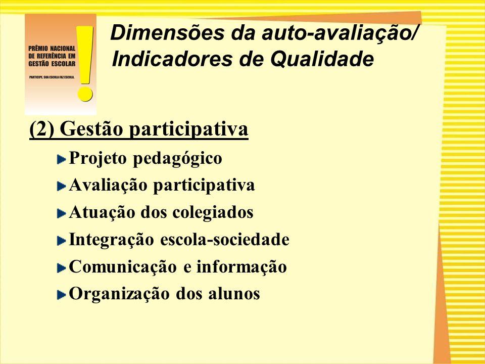 Dimensões da auto-avaliação/ Indicadores de Qualidade (2) Gestão participativa Projeto pedagógico Avaliação participativa Atuação dos colegiados Integ