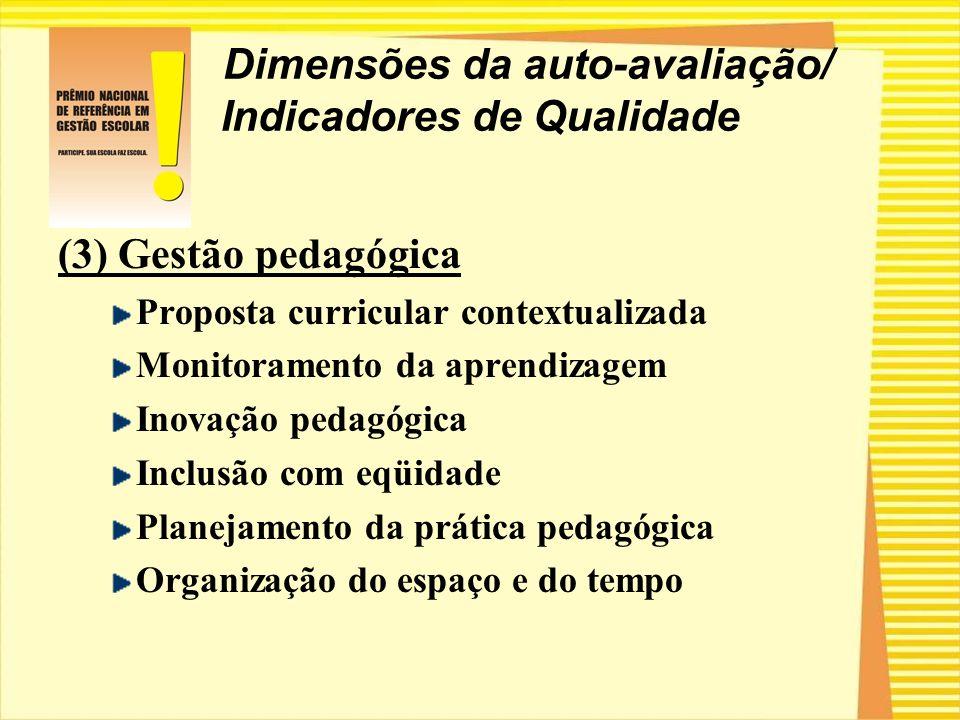 Dimensões da auto-avaliação/ Indicadores de Qualidade (3) Gestão pedagógica Proposta curricular contextualizada Monitoramento da aprendizagem Inovação