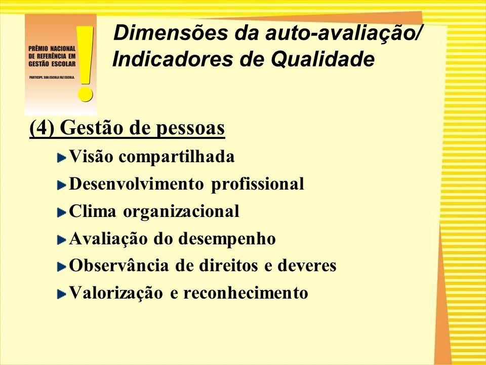 Dimensões da auto-avaliação/ Indicadores de Qualidade (4) Gestão de pessoas Visão compartilhada Desenvolvimento profissional Clima organizacional Aval