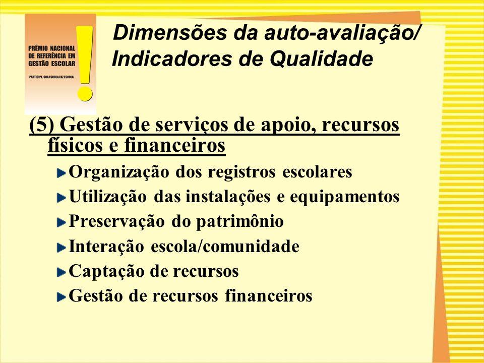 Dimensões da auto-avaliação/ Indicadores de Qualidade (5) Gestão de serviços de apoio, recursos físicos e financeiros Organização dos registros escola