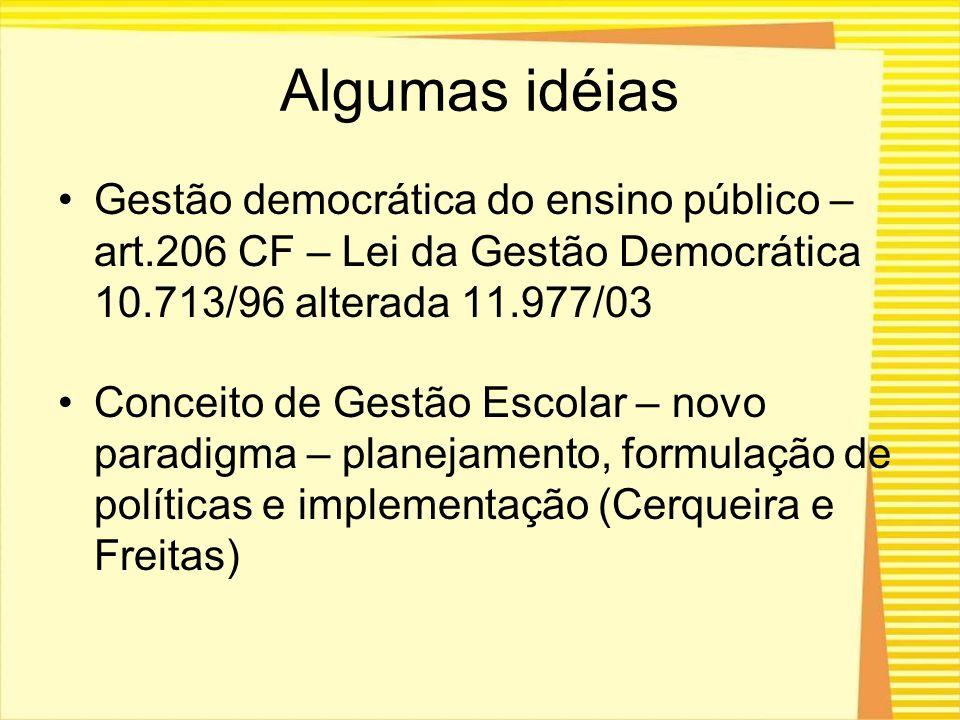 Algumas idéias Gestão democrática do ensino público – art.206 CF – Lei da Gestão Democrática 10.713/96 alterada 11.977/03 Conceito de Gestão Escolar –