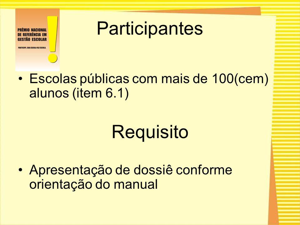 Participantes Escolas públicas com mais de 100(cem) alunos (item 6.1) Requisito Apresentação de dossiê conforme orientação do manual