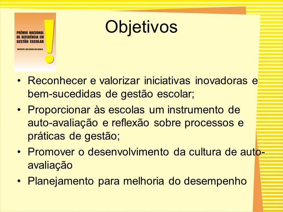Objetivos Reconhecer e valorizar iniciativas inovadoras e bem-sucedidas de gestão escolar; Proporcionar às escolas um instrumento de auto-avaliação e