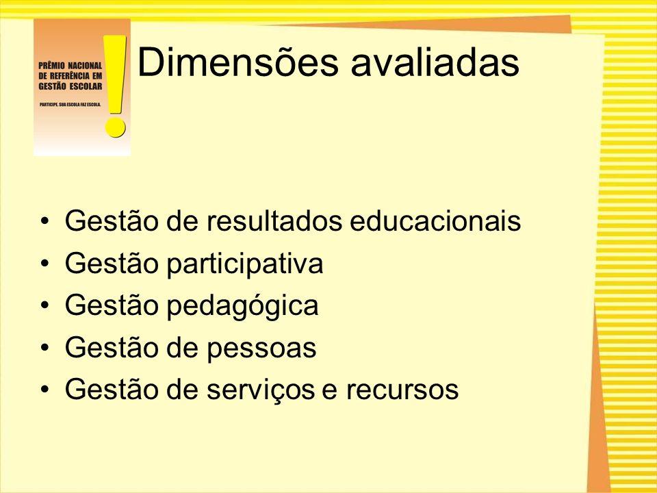 Dimensões avaliadas Gestão de resultados educacionais Gestão participativa Gestão pedagógica Gestão de pessoas Gestão de serviços e recursos