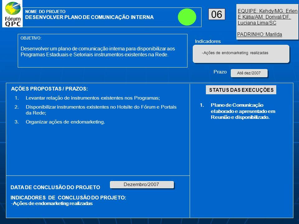 AÇÕES PROPOSTAS / PRAZOS: OBJETIVO: Desenvolver um plano de comunicação interna para disponibilizar aos Programas Estaduais e Setoriais instrumentos existentes na Rede.