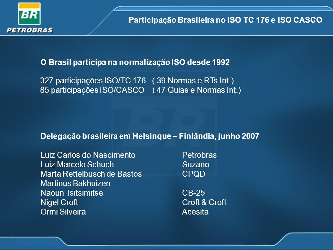 Participação Brasileira no ISO TC 176 e ISO CASCO 327 participações ISO/TC 176 ( 39 Normas e RTs Int.) 85 participações ISO/CASCO ( 47 Guias e Normas