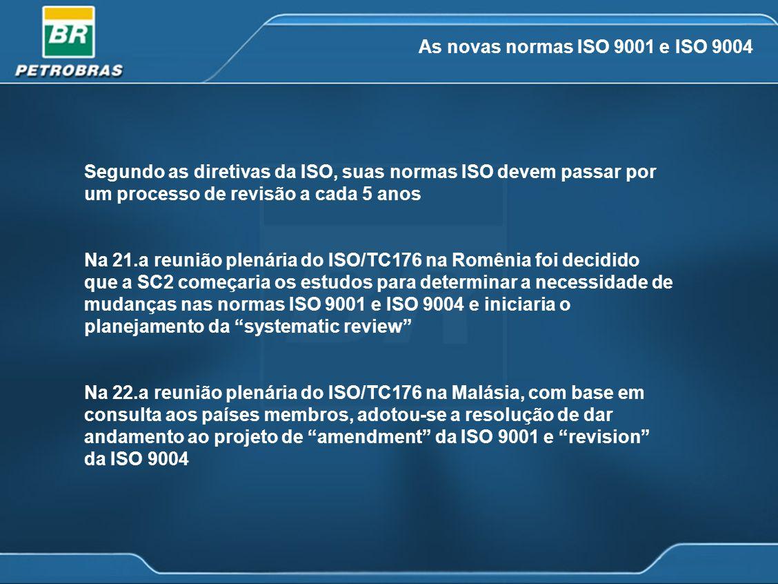 As novas normas ISO 9001 e ISO 9004 Segundo as diretivas da ISO, suas normas ISO devem passar por um processo de revisão a cada 5 anos Na 21.a reunião