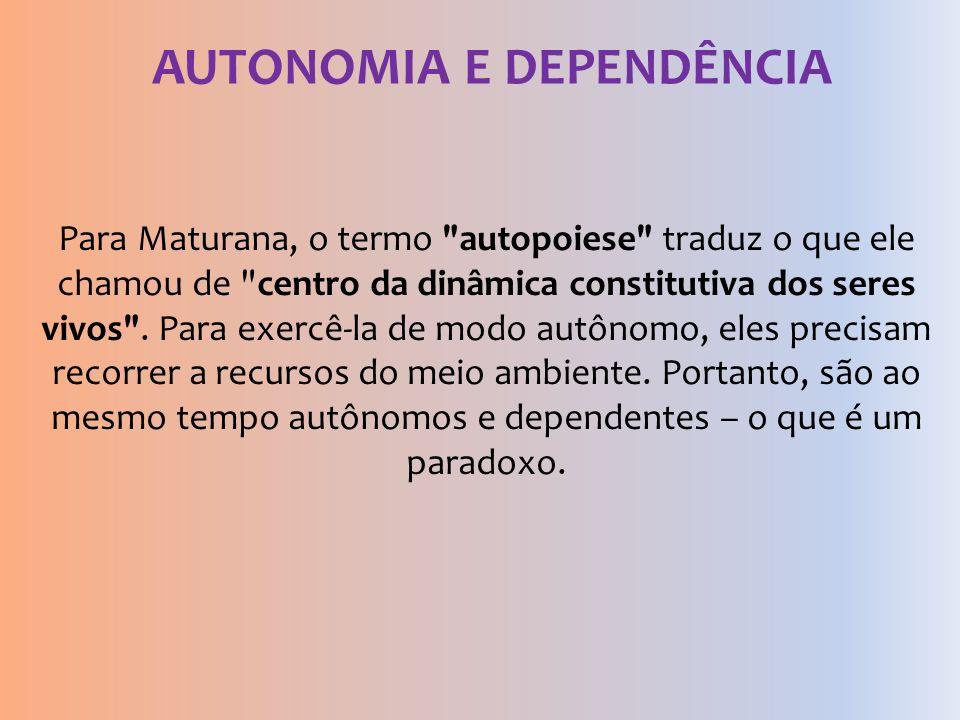 AUTONOMIA E DEPENDÊNCIA Para Maturana, o termo