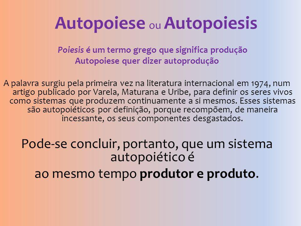 Autopoiese ou Autopoiesis Poiesis é um termo grego que significa produção Autopoiese quer dizer autoprodução A palavra surgiu pela primeira vez na lit