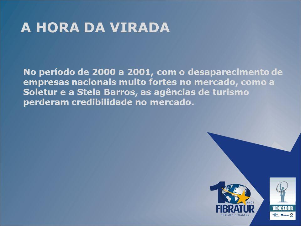 A HORA DA VIRADA No período de 2000 a 2001, com o desaparecimento de empresas nacionais muito fortes no mercado, como a Soletur e a Stela Barros, as a