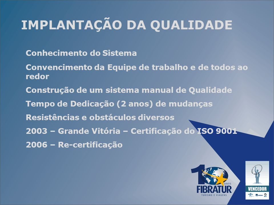 RELAÇÃO DE PRÊMIOS RECEBIDOS TOP SELLER VARIG 1997 /1998 TOP SELER AMERICAN AIRLINES 1999 MELHORES RIO SUL 1999 10 MELHORES SWISSAIR 1999 MÉRITO JAPAN AIRLINES 2000 TOP DE VENDAS CVC 2002 / 2003 / 2004 CLUB MED EXPERT 2003 / 2004 / 2005 TOP DE MARCAS 2004 LOCALIZA - THE BEST AGENCY 2004 TOP SELLER AMERICAN AIRLINES 2004 TALENTOS EMPREENDEDORES SEBRAE 2005