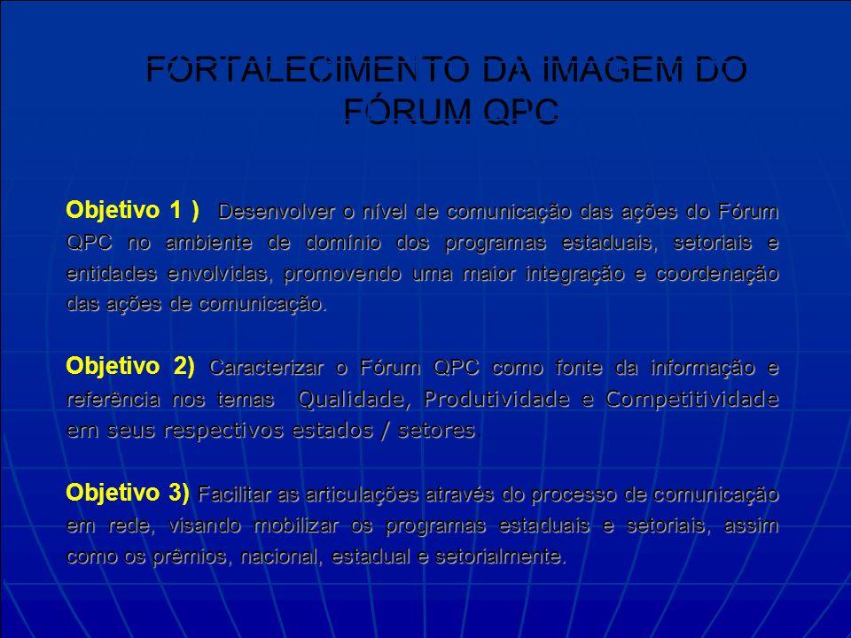 Plano de comunicação e marketing FORTALECIMENTO DA IMAGEM DO FÓRUM QPC Desenvolver o nível de comunicação das ações do Fórum QPC no ambiente de domínio dos programas estaduais, setoriais e entidades envolvidas, promovendo uma maior integração e coordenação das ações de comunicação.