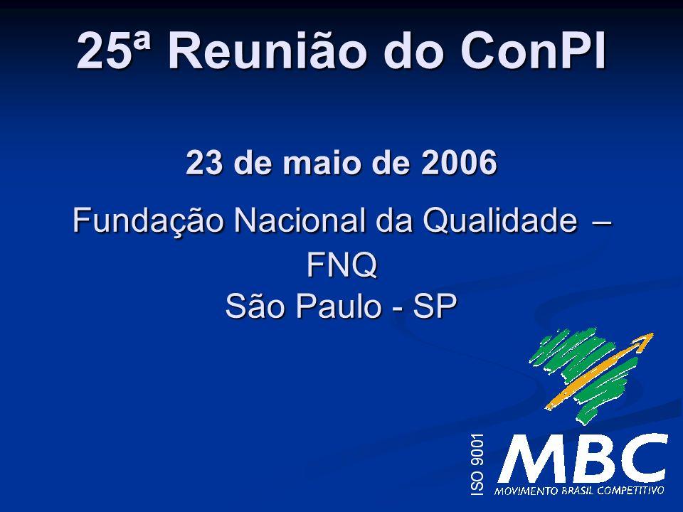 25ª Reunião do ConPI 23 de maio de 2006 Fundação Nacional da Qualidade – FNQ São Paulo - SP