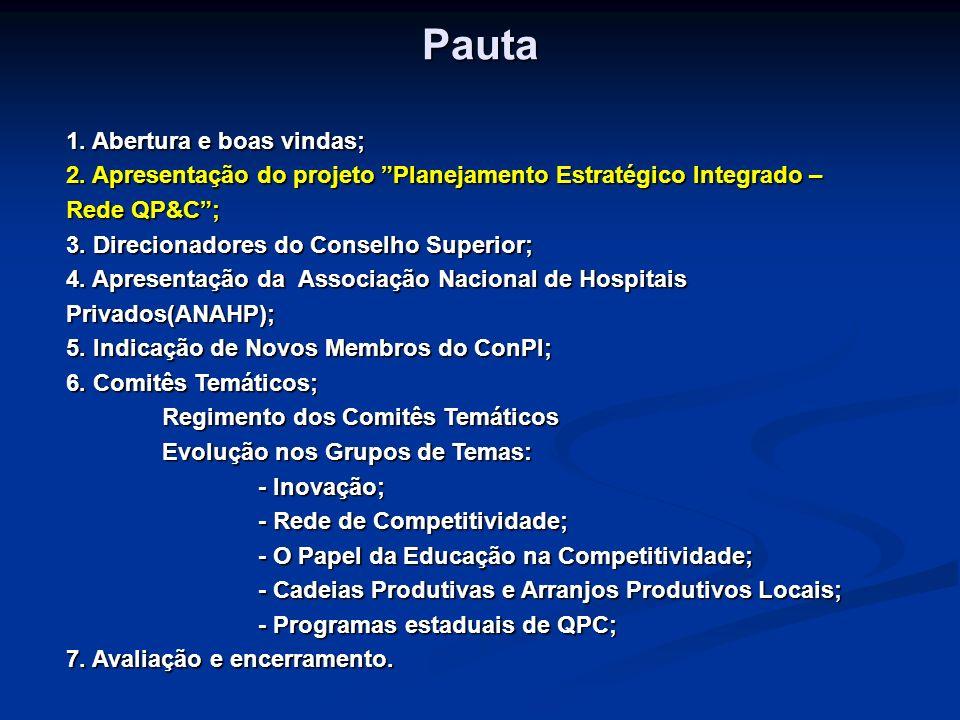 Apresentação do projeto Planejamento Estratégico Integrado – Rede QP&C Cláudio Gastal