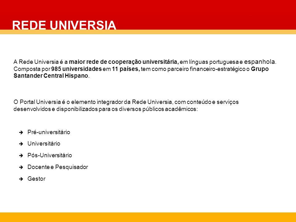 A Rede Universia é a maior rede de cooperação universitária, em línguas portuguesa e espanhola. Composta por 985 universidades em 11 países, tem como