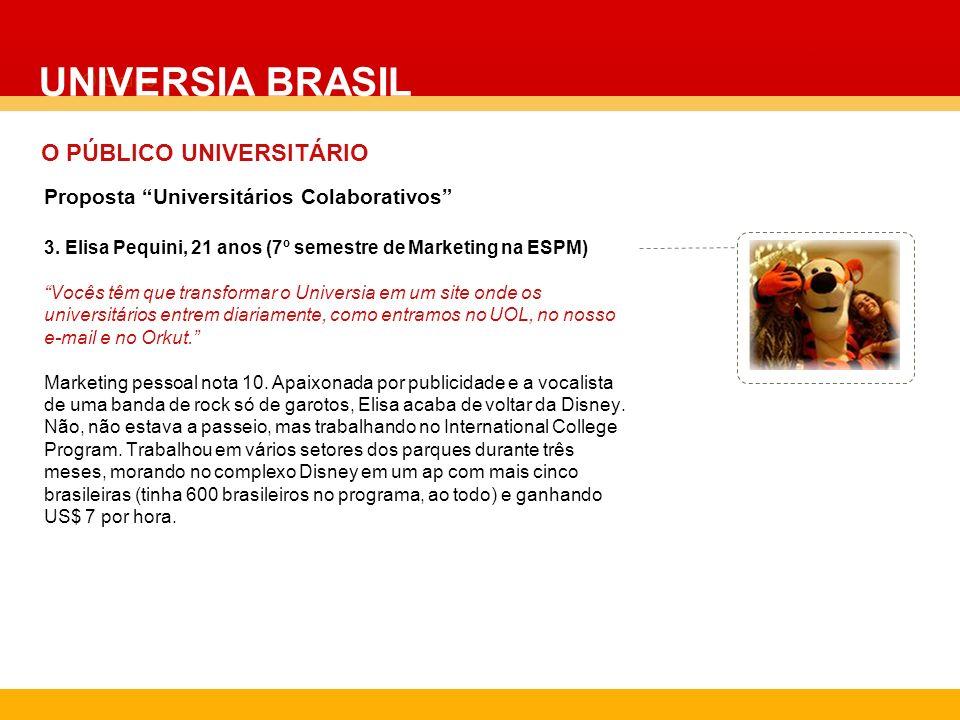O Grupo 3. Elisa Pequini, 21 anos (7º semestre de Marketing na ESPM) Vocês têm que transformar o Universia em um site onde os universitários entrem di