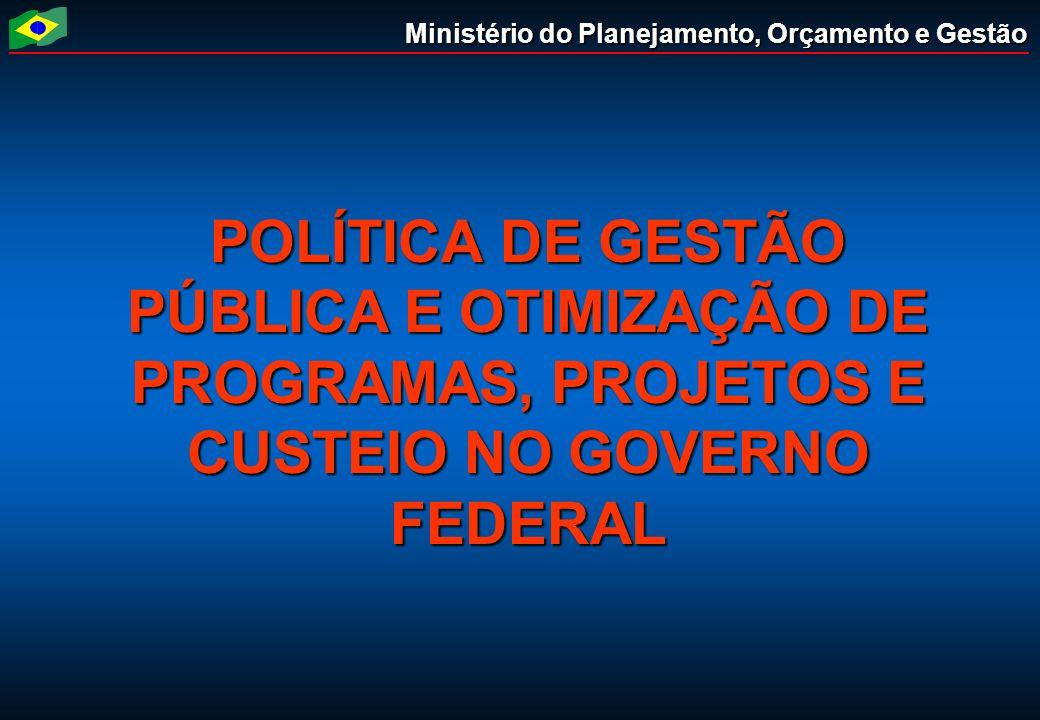 Ministério do Planejamento, Orçamento e Gestão POLÍTICA DE GESTÃO PÚBLICA E OTIMIZAÇÃO DE PROGRAMAS, PROJETOS E CUSTEIO NO GOVERNO FEDERAL