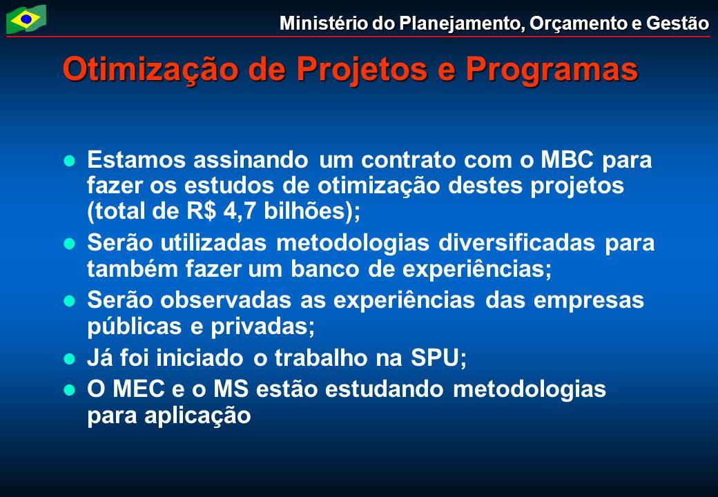 Ministério do Planejamento, Orçamento e Gestão Otimização de Projetos e Programas Estamos assinando um contrato com o MBC para fazer os estudos de oti