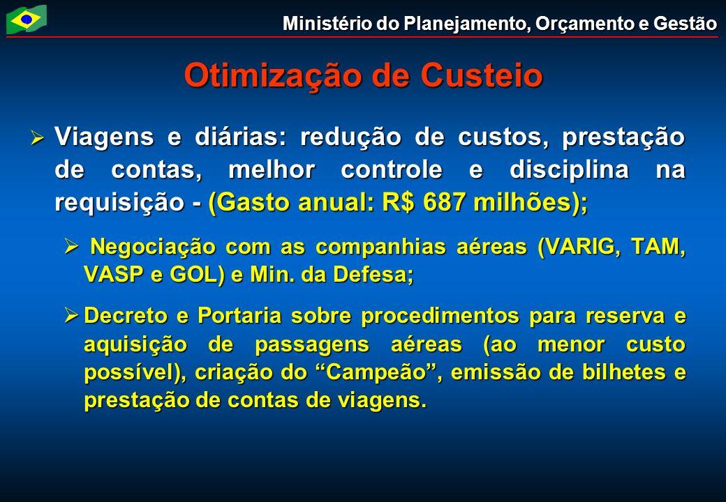 Ministério do Planejamento, Orçamento e Gestão Otimização de Custeio Viagens e diárias: redução de custos, prestação de contas, melhor controle e disc